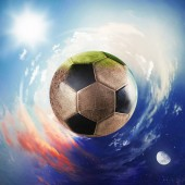 Fotografie Global view of soccer world. football ball as a planet