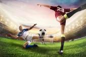 Fotografie Fotbalový útočník chytí míč a akrobatické kop. 3D vykreslování