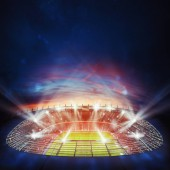 Fotografie Pohled shora z fotbalového stadionu v noci s rozsvícenými světly. 3D vykreslování