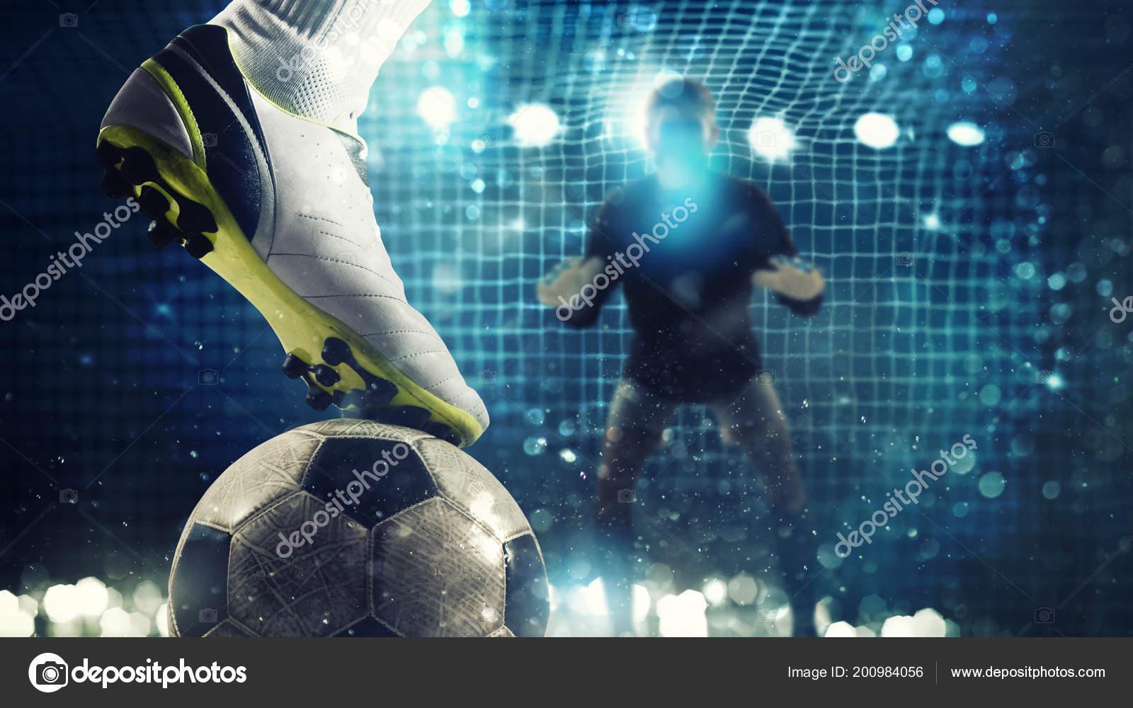 Nahaufnahme Eines Fussballsturmers Bereit Den Ball In Das