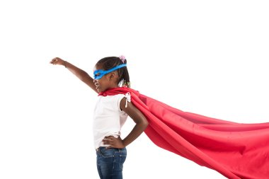Child acts like a brave superhero to save the world stock vector