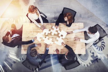 Businessmen working together to build a puzzle with gear overlay. Concept of teamwork, partnership, integration and startup. double exposure stock vector