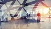 Moderní letiště s efekty rozostření. Dvojitá expozice