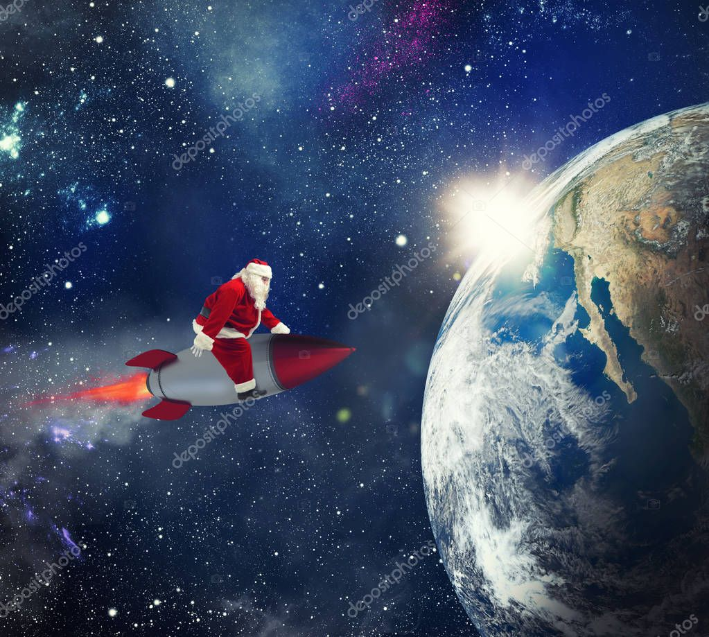 Fast delivery of Christmas gifts with Santa Claus in the space