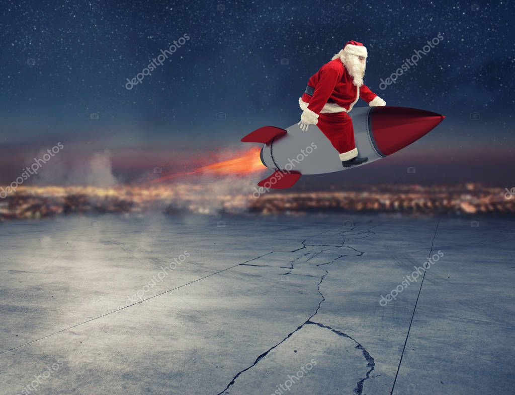 Fast delivery of Christmas gifts ready to fly with a rocket
