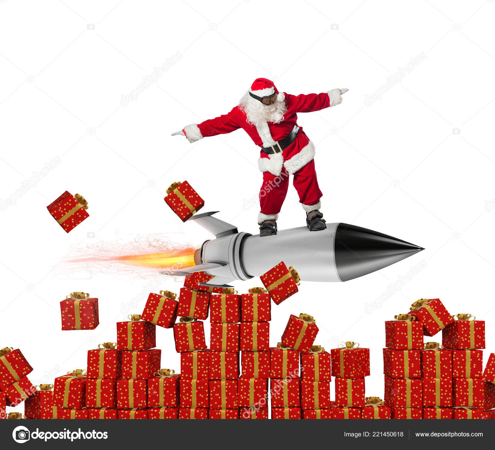 Fast delivery of Christmas gifts. Santa Claus ready to fly with a ...
