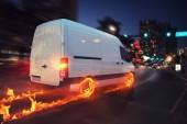 Szuper gyors szállítás, csomag szolgáltatás van a kerekek a tűz. 3D-leképezés