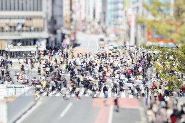 Shibuya crosswalk in Tokyo, Japan, with Walking people
