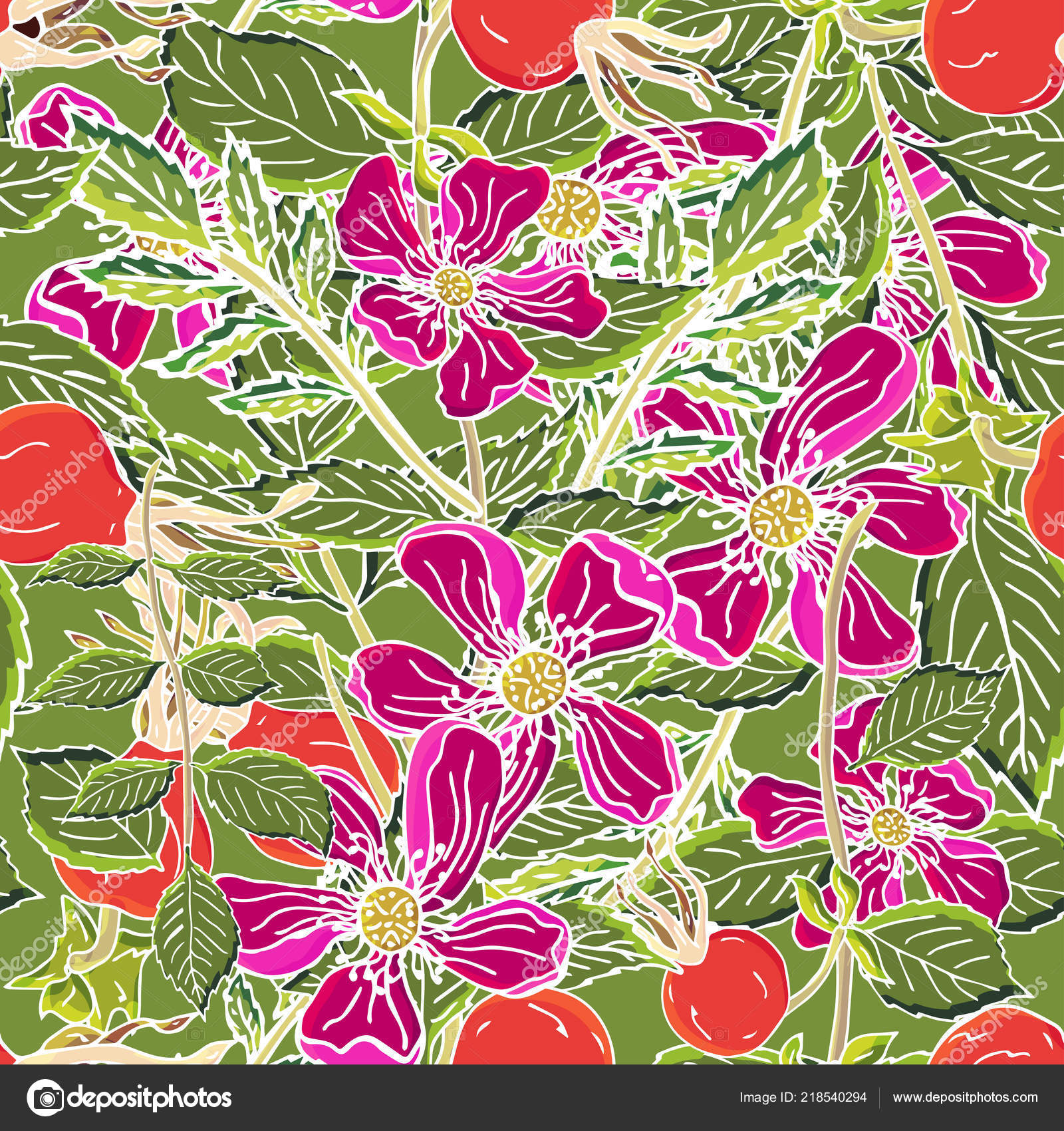 Dogrose berries seamless pattern  Vector background wild