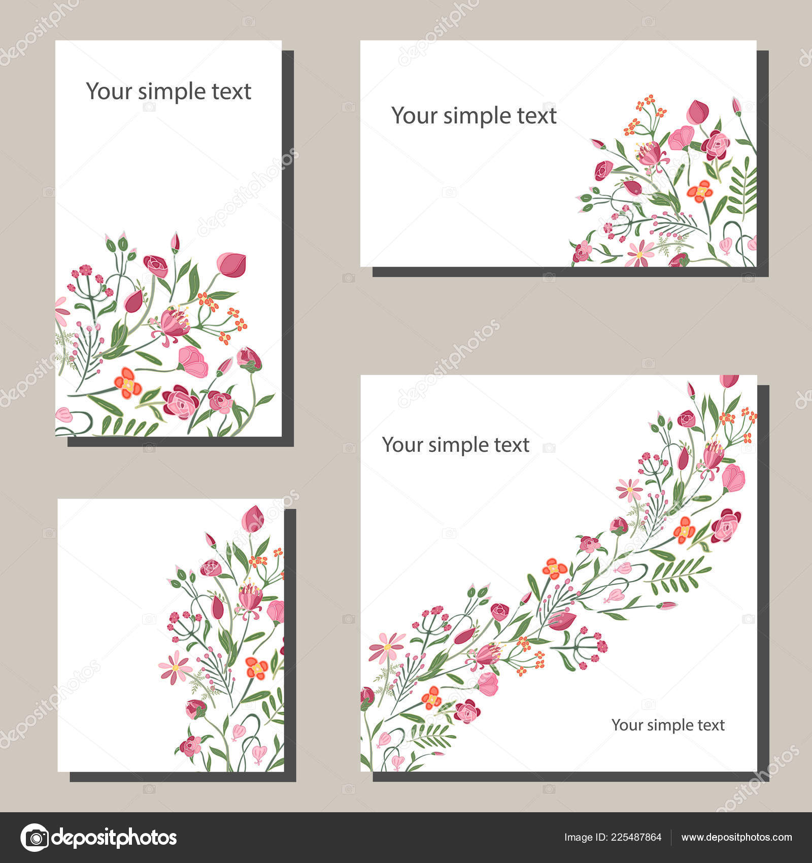 floral spring templates with flowers for romantic and easter spring