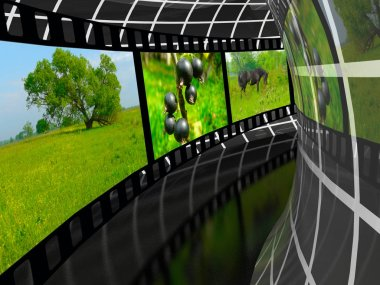 Film roll with color pictures (nature) in the tunnel, 3D illustration.
