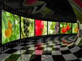 Záběry přírody v reflexní tunelu, 3d obrázek.