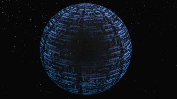 Digital globe, otočení na černém pozadí.
