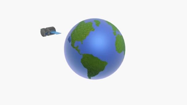 Rotating globe and satellites on white background.