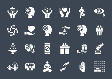Conscious Living and Friends Relations Glyph Related Icons Set. Isolated on Black Background. Simple Black Pictogram Pack Vector Logo Concept for Web. icon