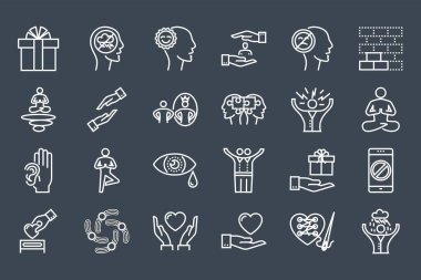Conscious Living and Friends Relations Thin Line Related Icons Set. Isolated on Black Background. Simple Mono Linear Pictogram Pack Stroke Vector Logo Concept for Web. Editable Stroke. icon