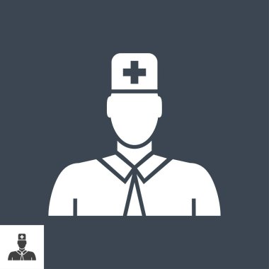 Doctor Glyph Vector Icon. Isolated on the Black Background. Editable EPS file. Vector illustration. icon
