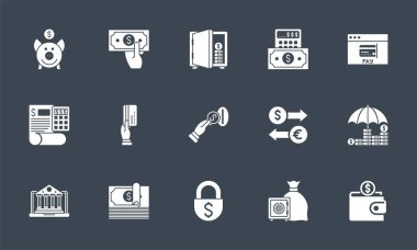 Banking icons set. Related vector glyph icons. Isolated onblack background. Vector illustration. icon