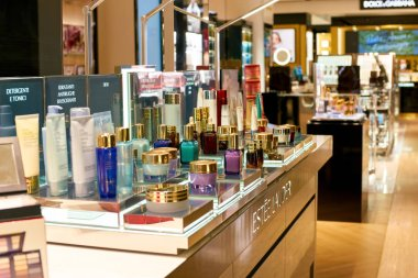 ROME, ITALY - CIRCA NOVEMBER, 2017: Estee Lauder cosmetics on display at a second flagship store of Rinascente in Rome.