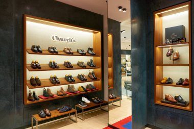 ROME, ITALY - CIRCA NOVEMBER, 2017: Church's men's shoes on display at a second flagship store of Rinascente in Rome.