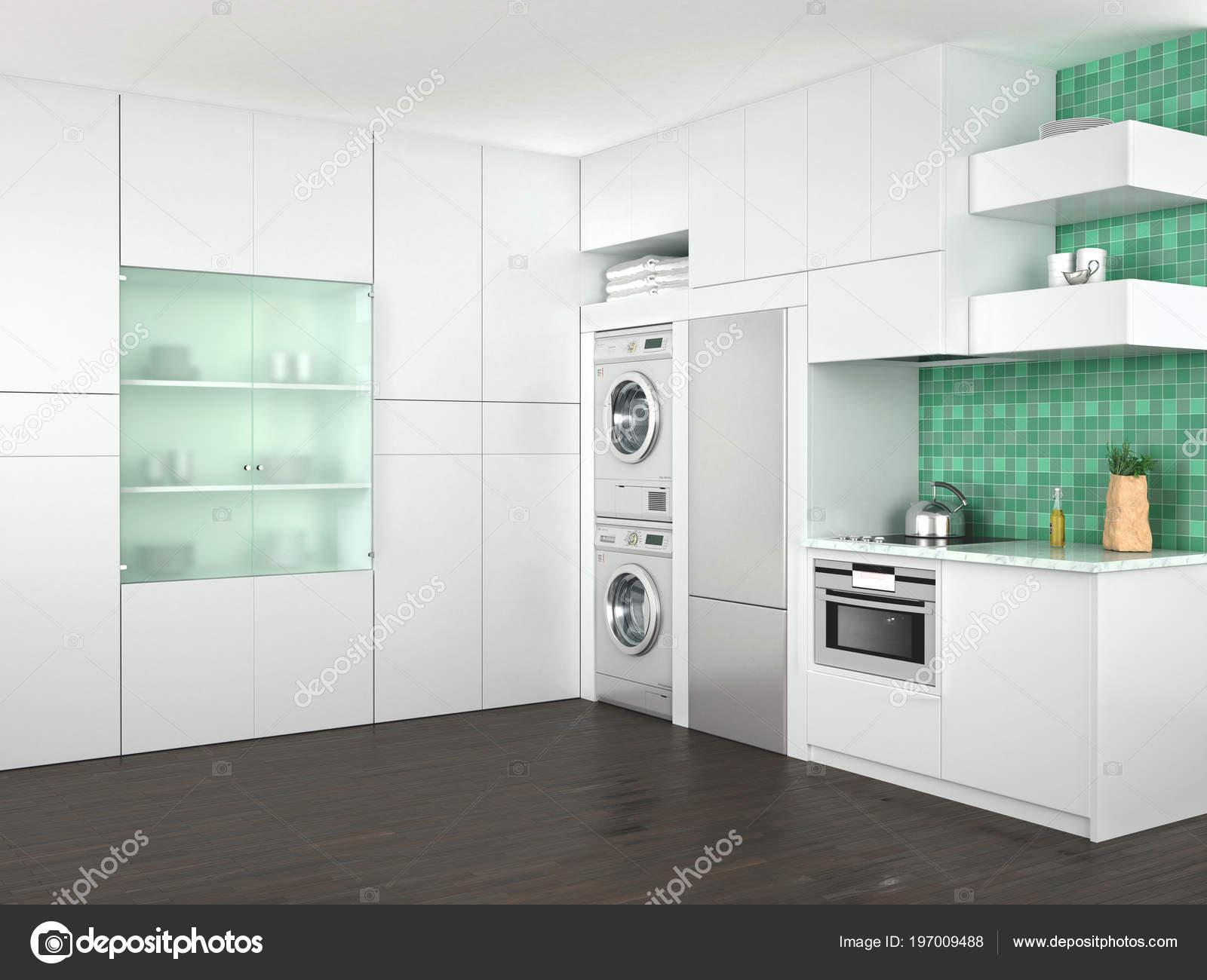Ansprechend Küche Mit Waschmaschine Ideen Von Design Der Weißen Küche Tration — Stockfoto