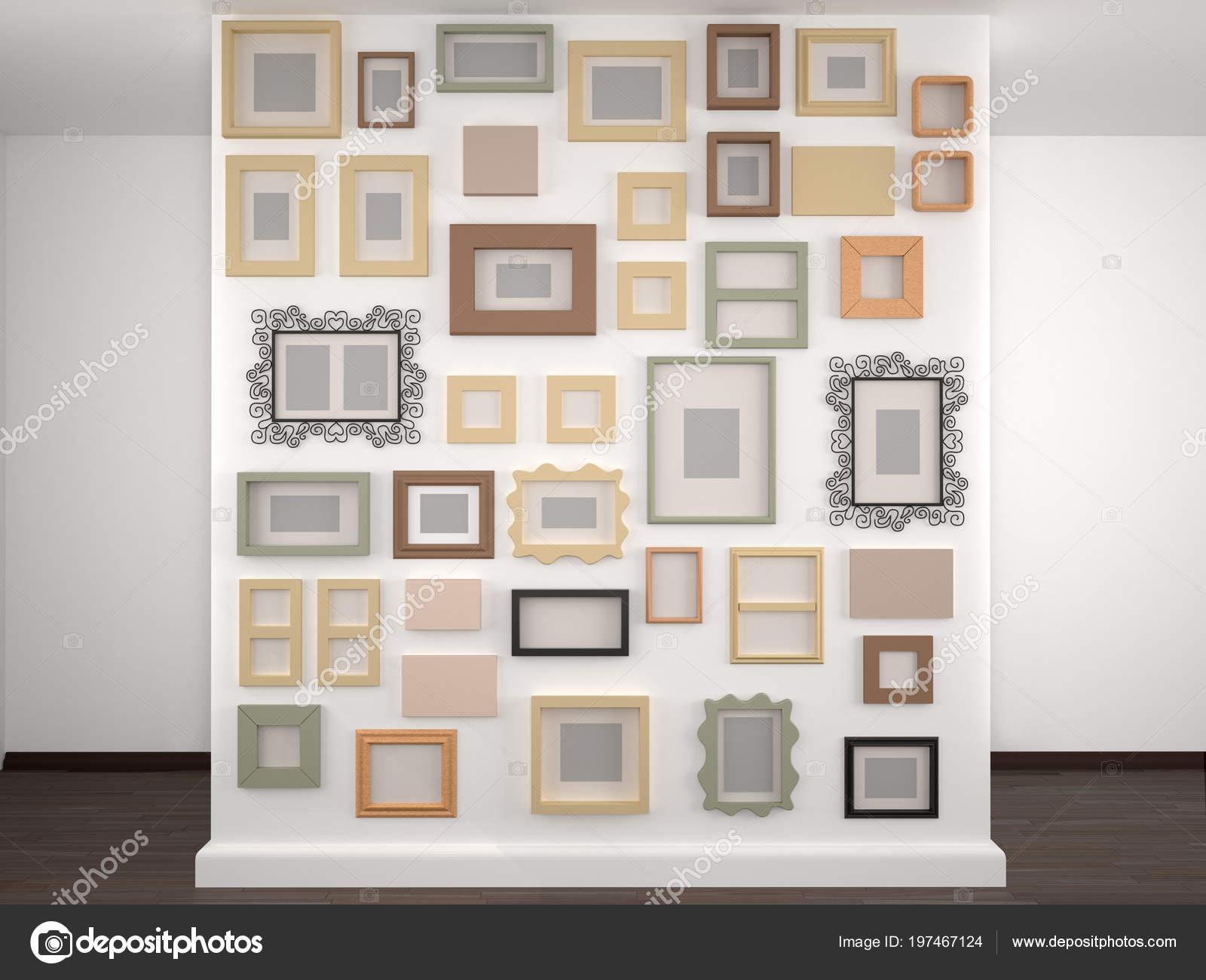 Diferentes Cuadros Una Pared Blanca Ilustracion Foto De Stock - Cuadros-diferentes