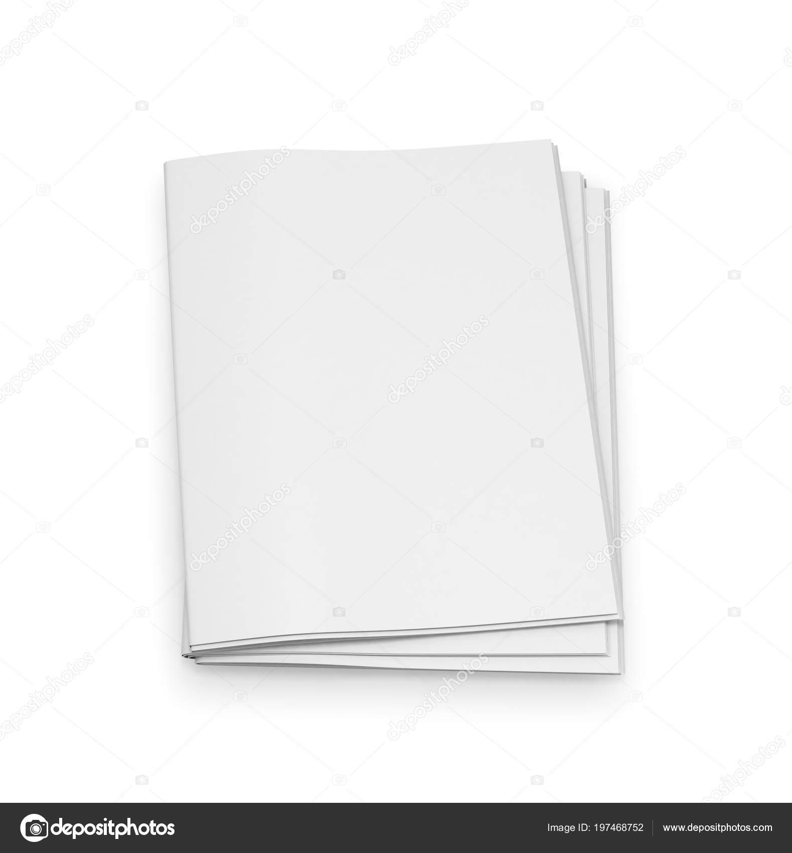 Empty Newspaper Template White Background Illustration Stock Photo