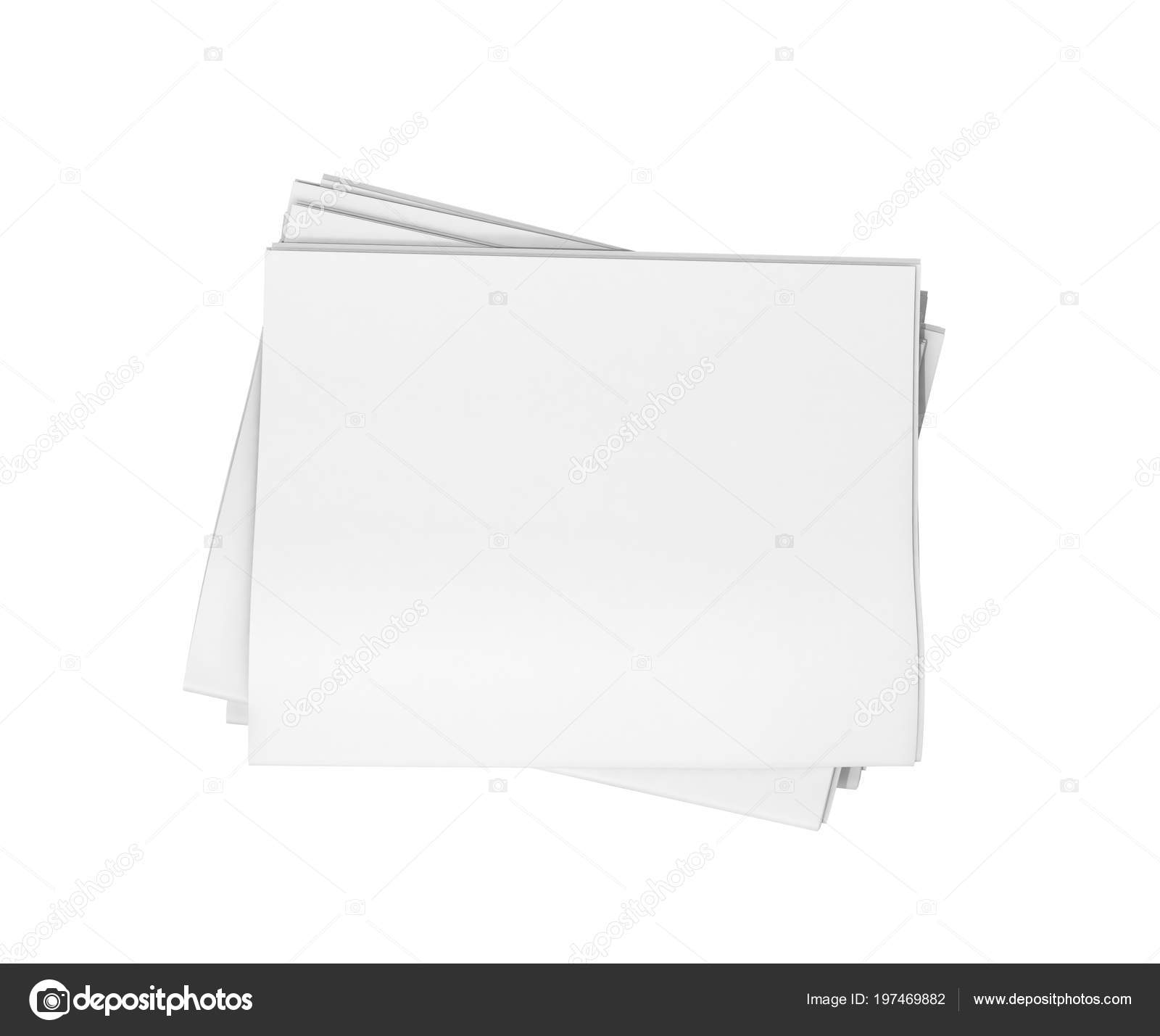 News Stack Blank Newspapers Isolated White Background Illustration