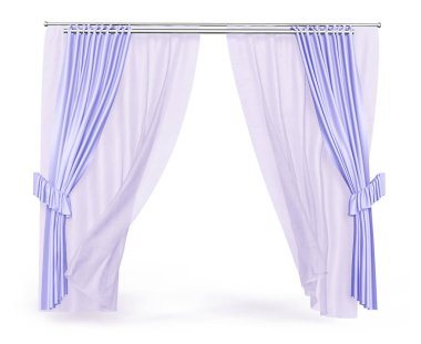 Tulle and curtains of violet color on the cornice. 3d illustration