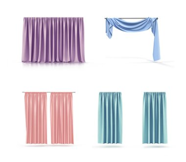 set of colored curtains, isolated on white background. 3d illustration