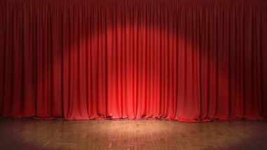 The red curtain. 3d illustration