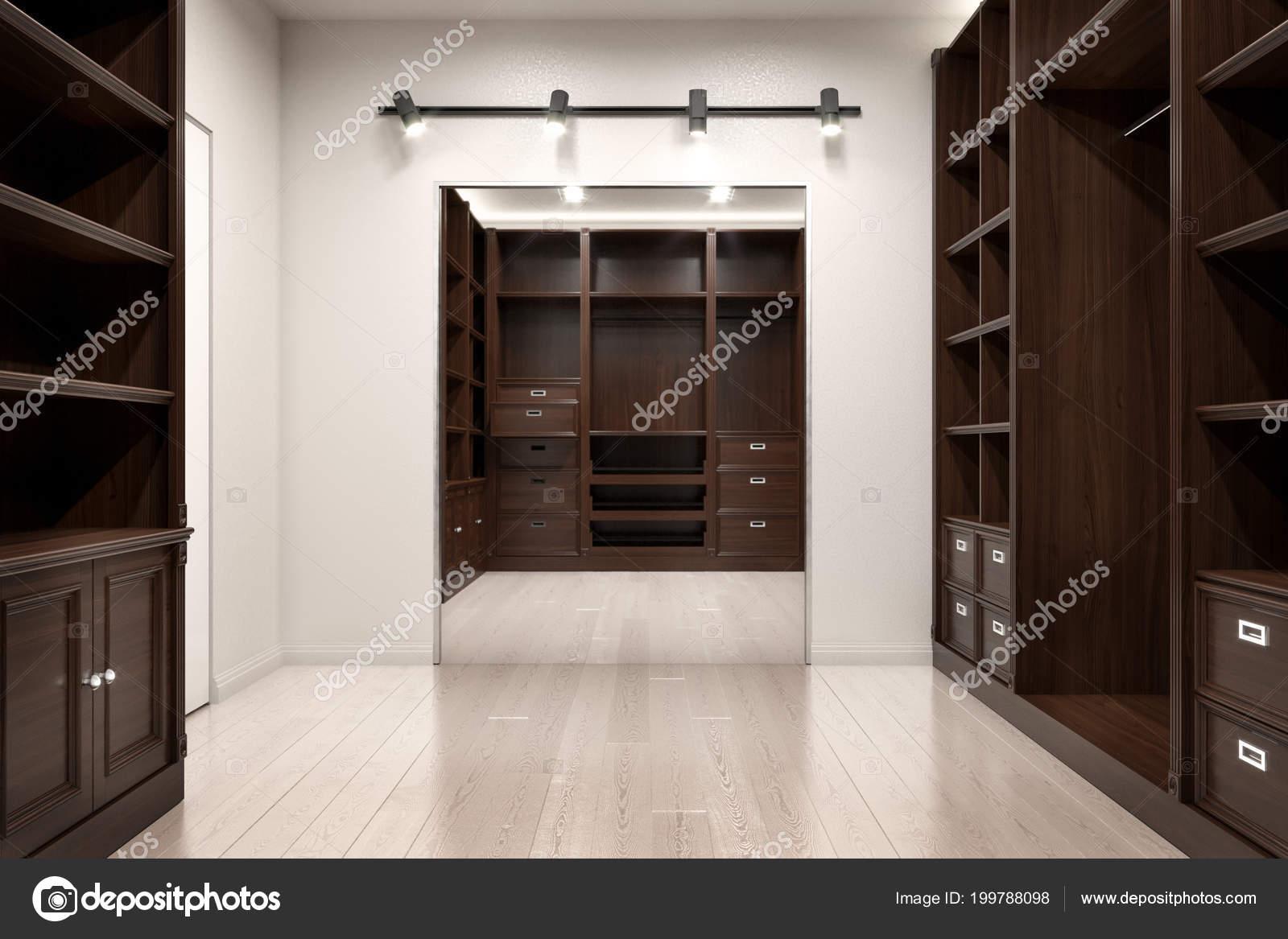Mooie houten horizontale kledingkast inloopkast illustratie