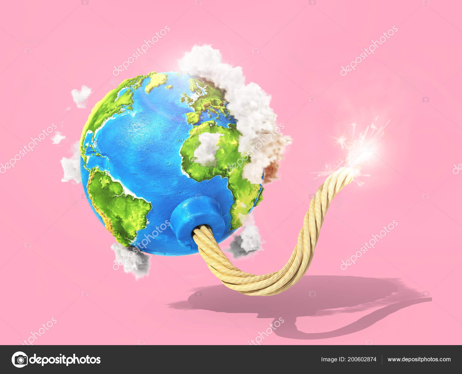 Ecoconcept eco concept planet clouds bomb fired wick pastel background