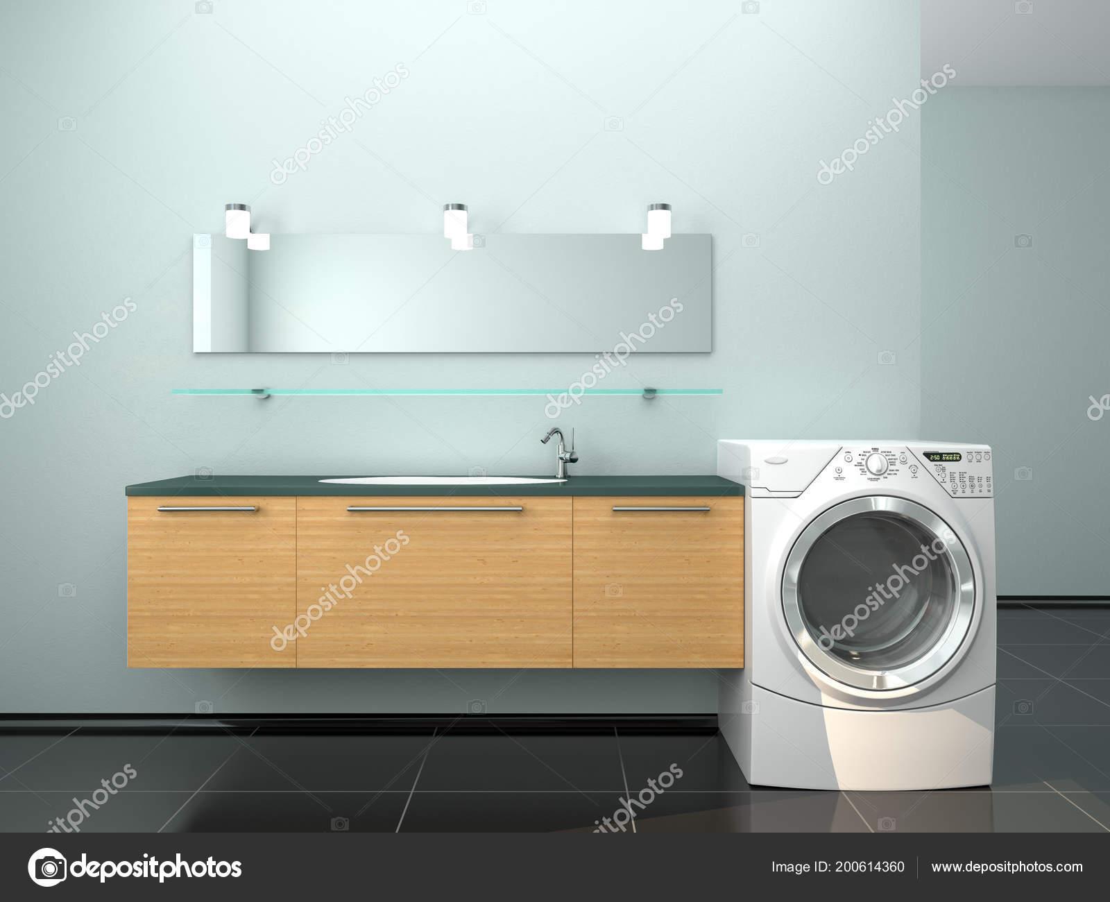 Minimalistische badkamers met een wasmachine illustratie