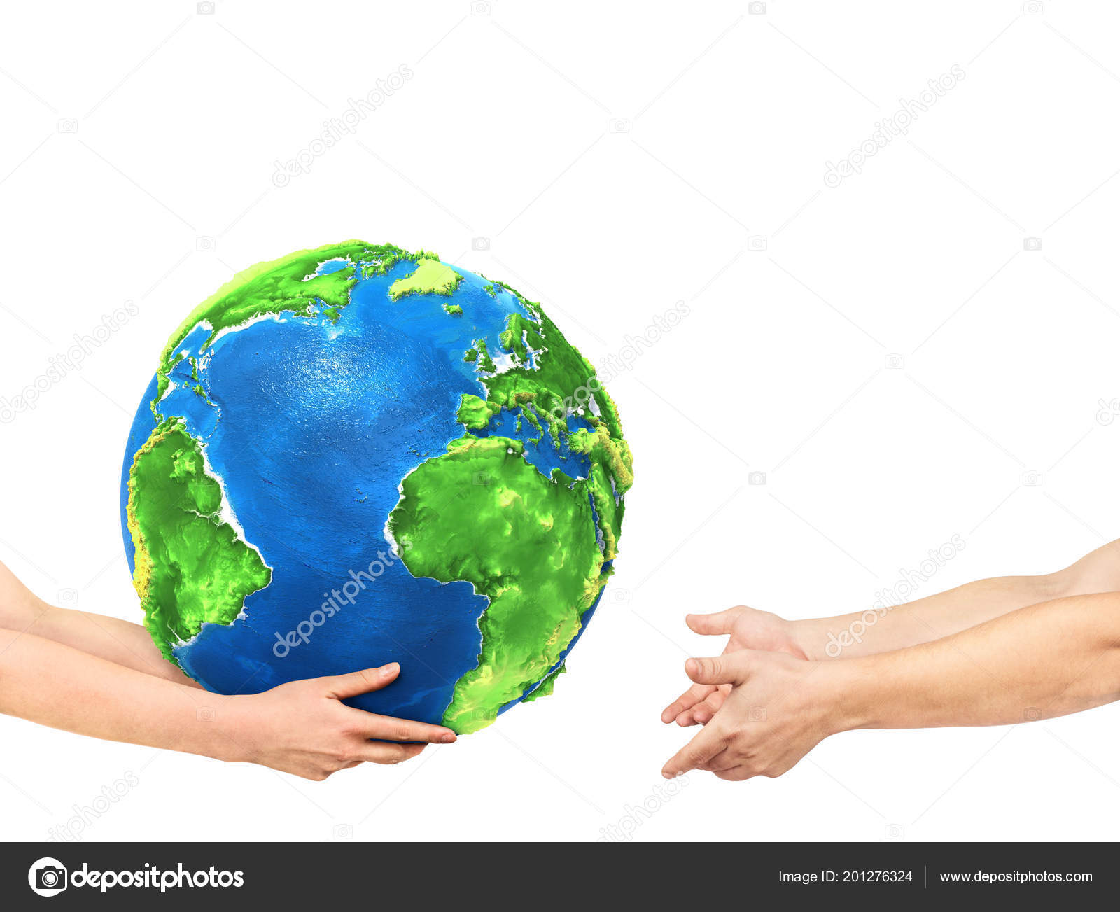 Ecoconcept eco concept hands giving planet other hands white background — stock