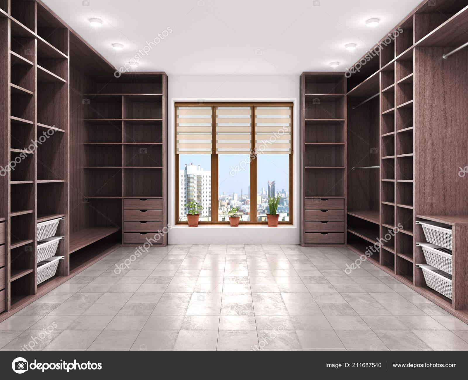 Moderne Luxe Dressing Room Garderobe Visualisatie Stockfoto