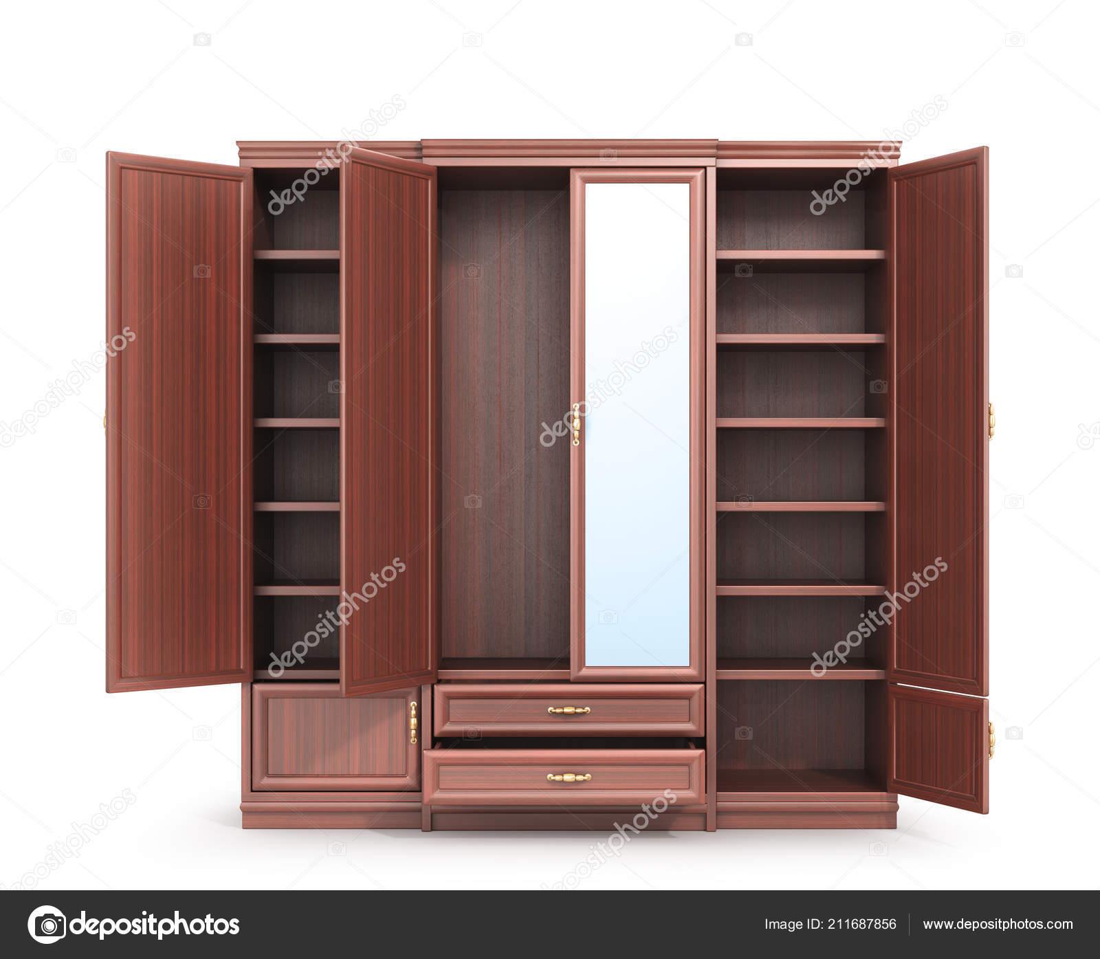 Garderobe Offener Schrank Mit Dingen Illustration Stockfoto