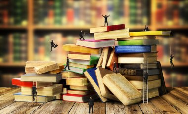 Concept of education. Humans are climb on stack of old books on a library background. Achieving the goal.