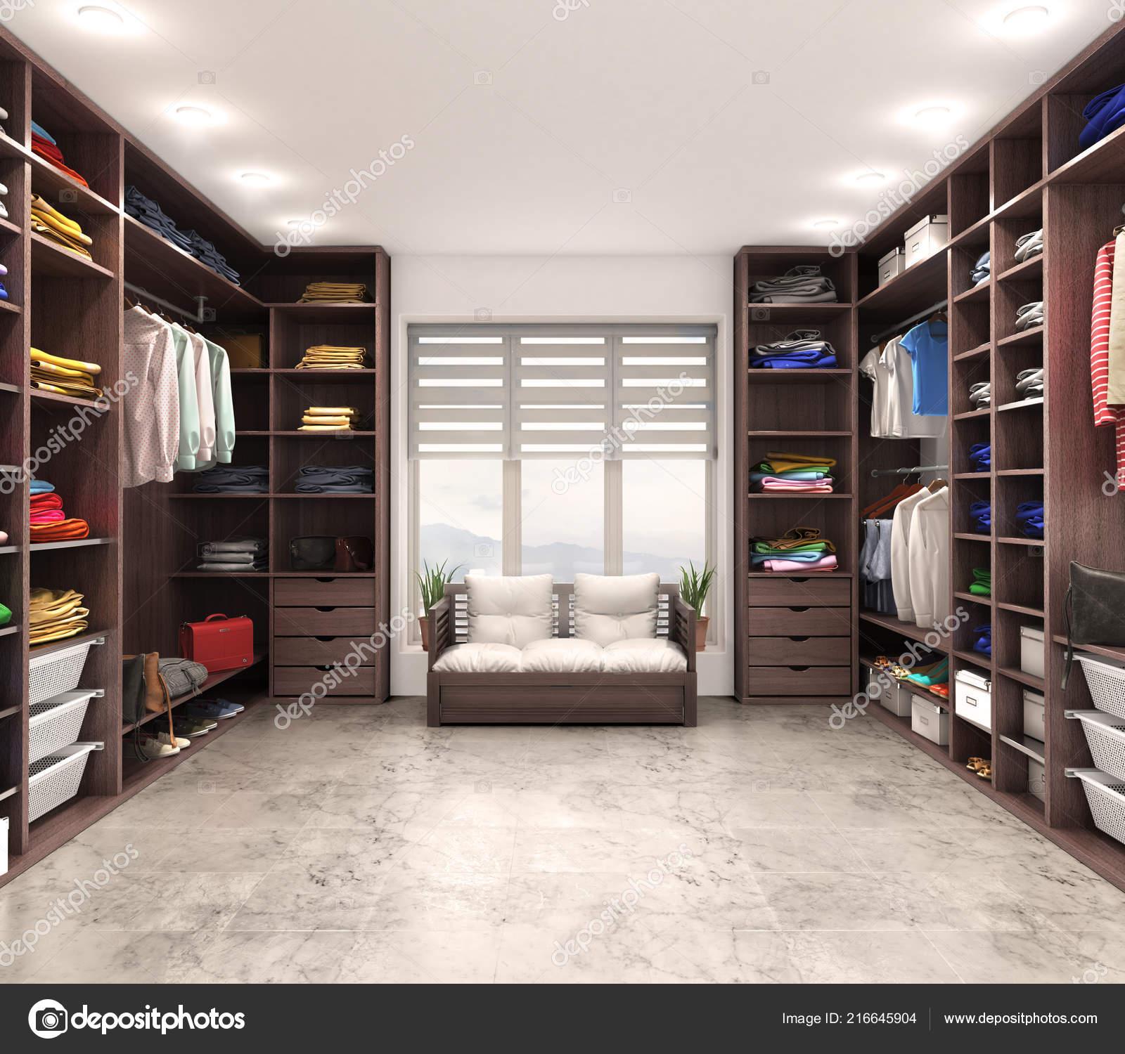 Moderne Luxe Dressing Room Garderobe Illustratie Stockfoto