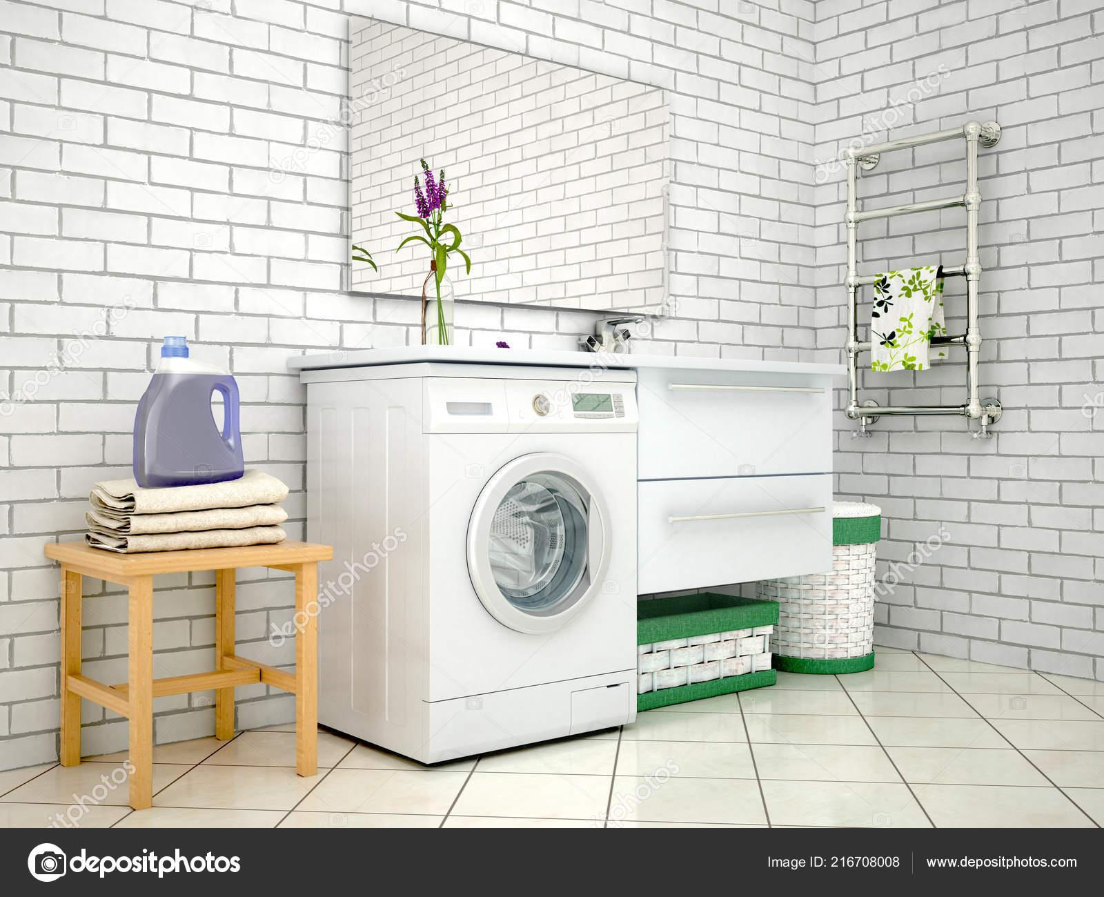Weißes Badezimmer Mit Waschmaschine Illustration — Stockfoto ...