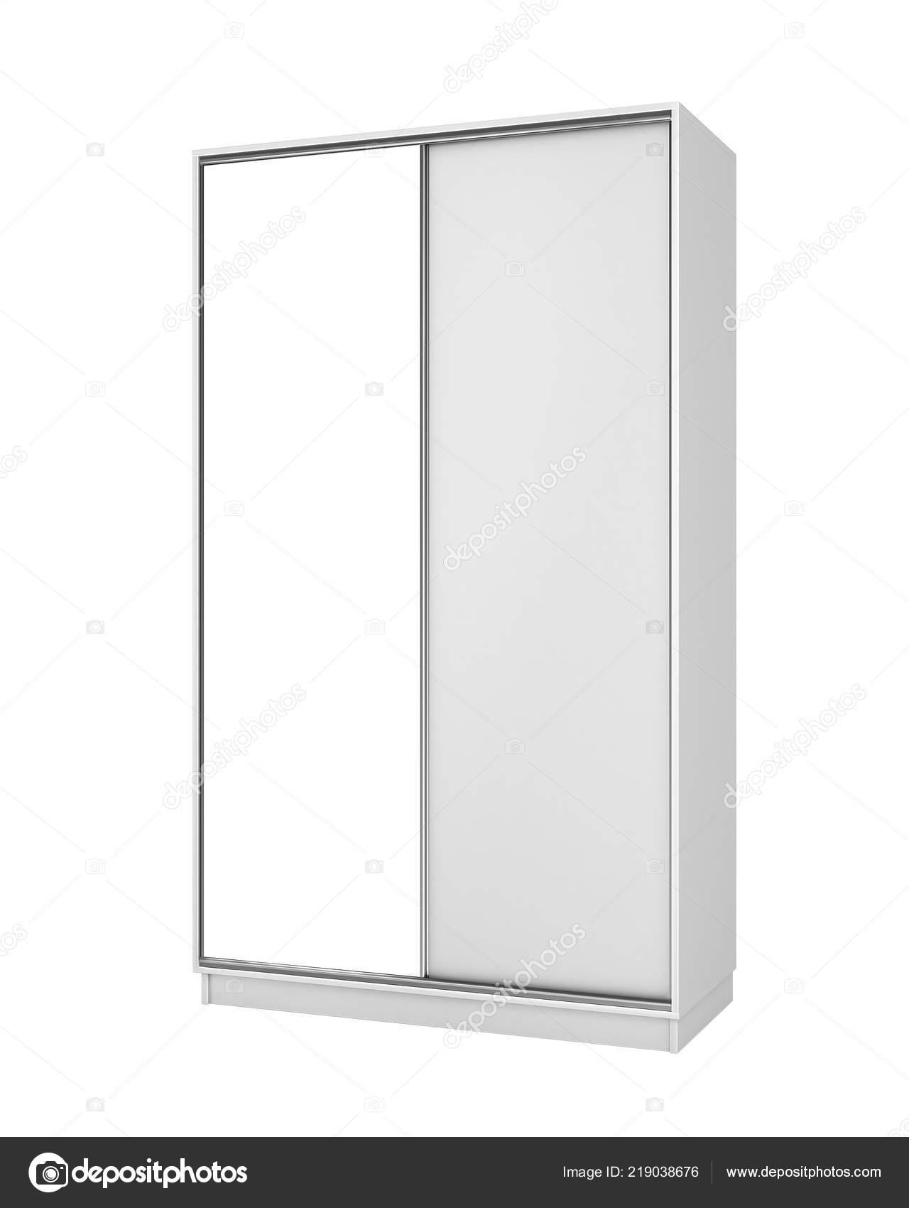 Blanc Armoire Fermée Avec Grand Miroir Illustration Photographie