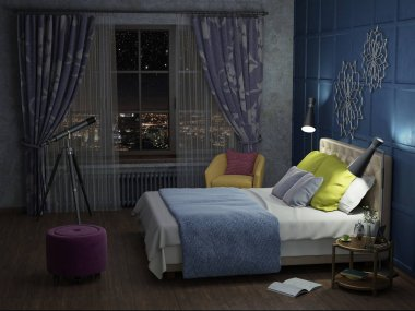 bedroom in the night with lights 3d illustration