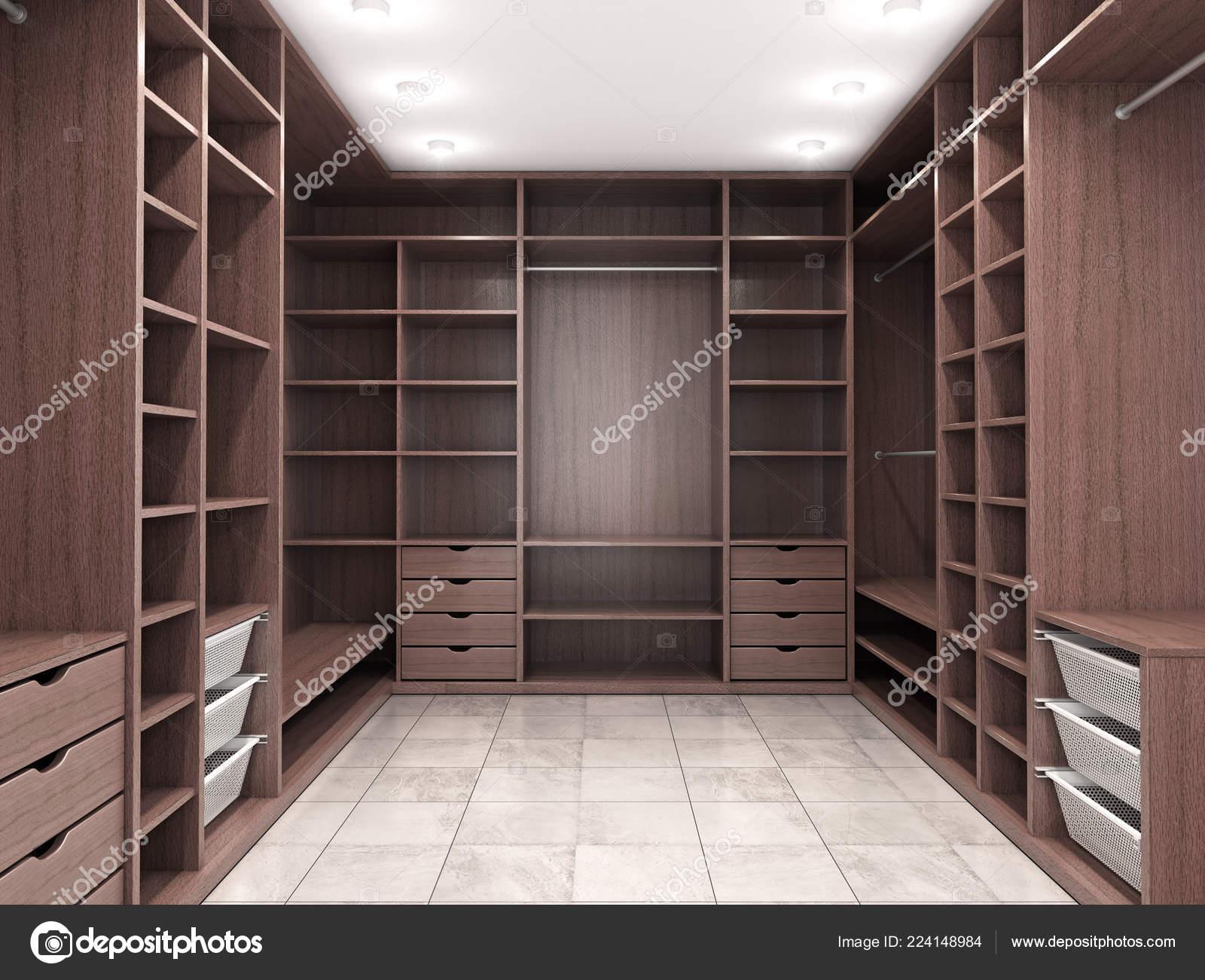 Moderne luxus dressing room garderobe visualisierung u stockfoto