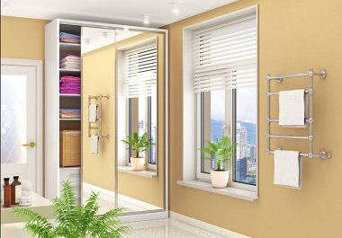 Wardrobe compartment with mirrored doors in a bright room. 3d illustration
