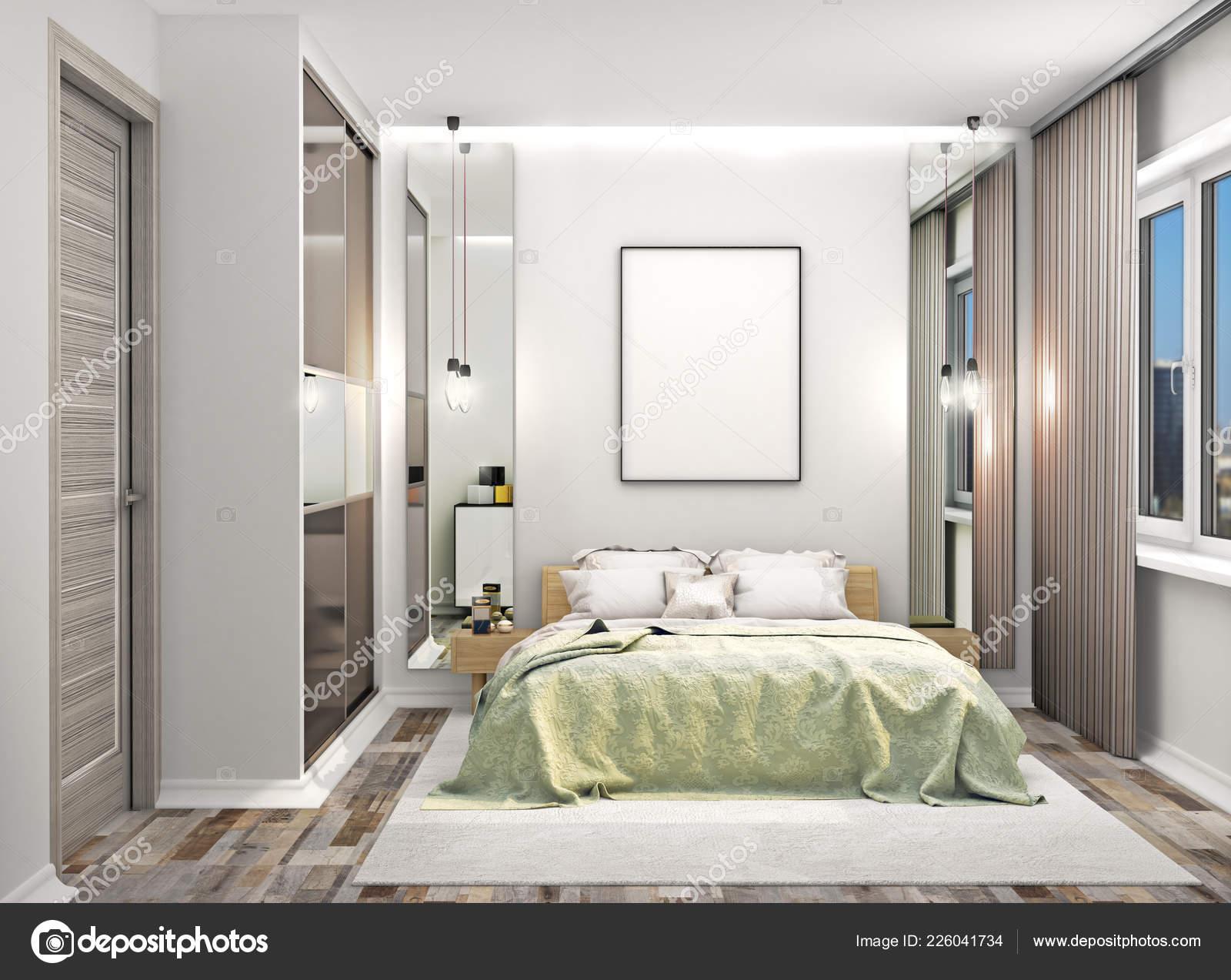 Gemütliches Schlafzimmer Mit Einem Kleiderschrank Mit Spiegeltüren ...