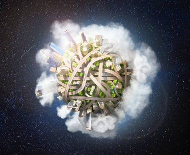 Eco city. Planet as concept for chaotic urban life. 3d illustration