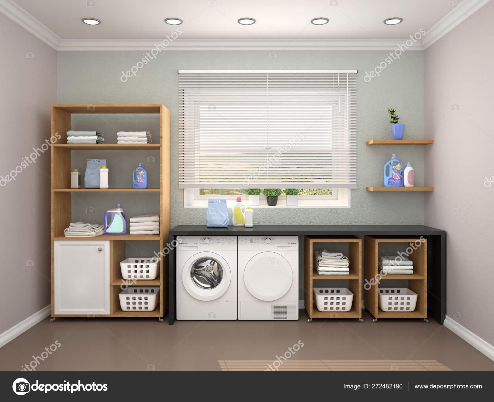 Laundry room design with washing machine. 20d illustration Stock ...