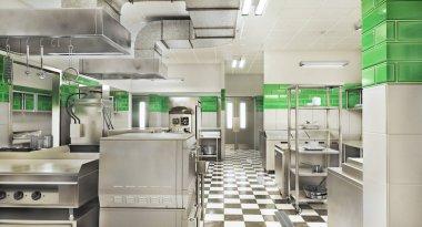 Restaurant equipment. Modern industrial kitchen. 3d illustration