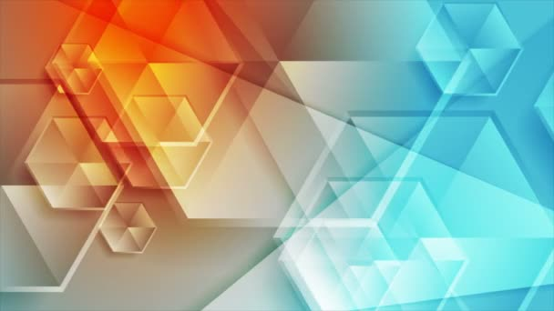 Blue orange concept video animation with glossy hexagons