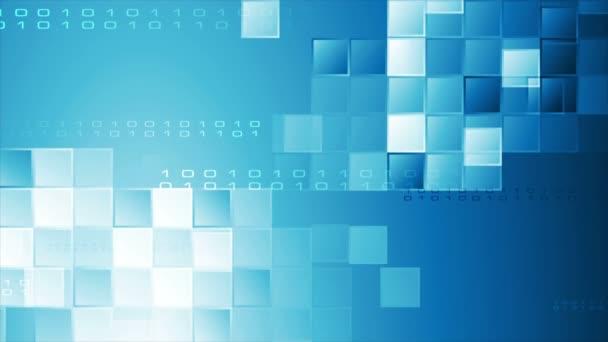 Hi-Tech modré abstraktní video animace s čtverečky a binárního kódu